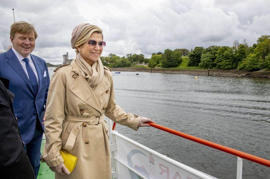 La reine Maxima et le roi Willem-Alexander des Pays-Bas se rendent en bateau de Cork à Cobn, le 14 juin 2019