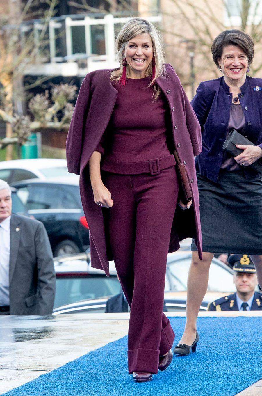 La reine Maxima des Pays-Bas à son arrivée à Leusden, le 29 janvier 2019