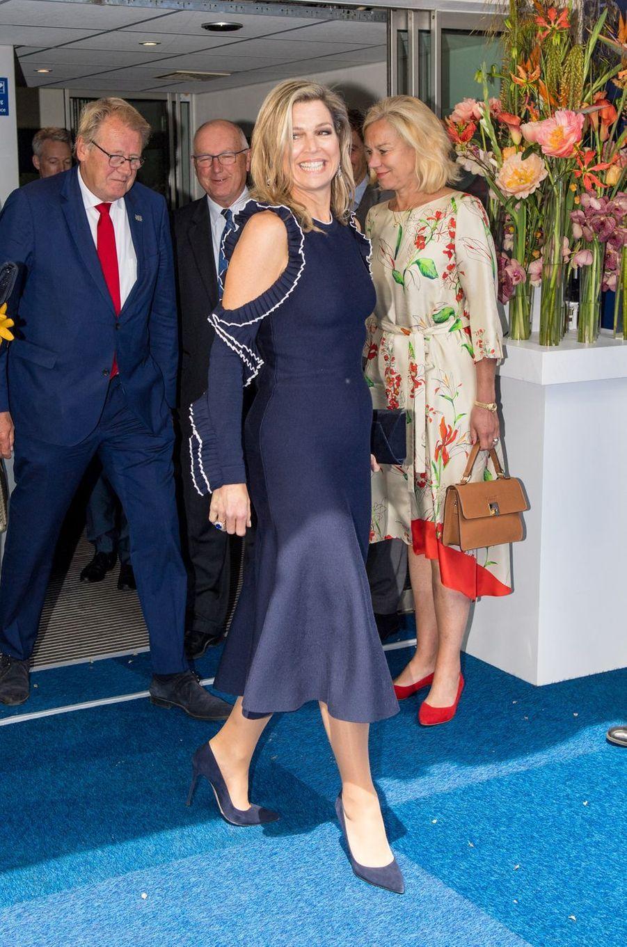 La reine Maxima des Pays-Bas dans une robe Oscar de la Renta à La Haye, le 4 juin 2019