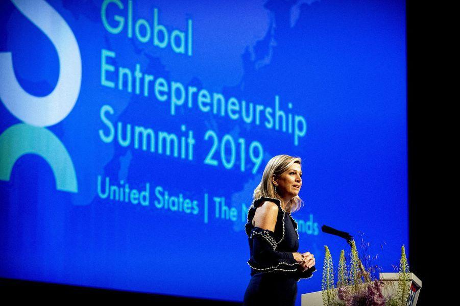 La reine Maxima des Pays-Bas ouvre le Global Entrepreneurship Summit 2019 à La Haye, le 4 juin 2019