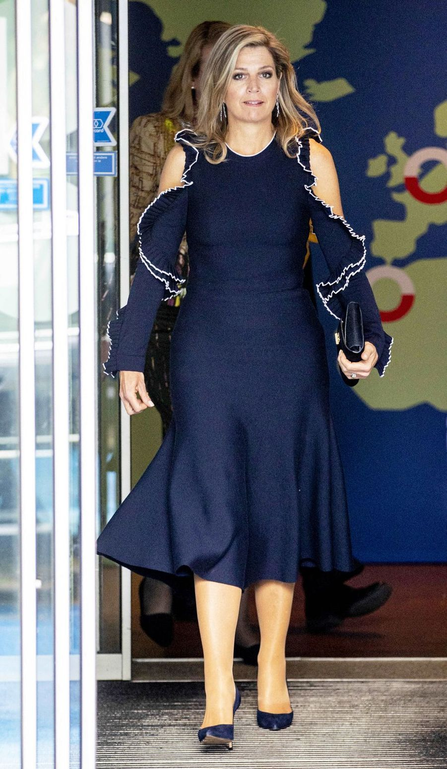 La reine Maxima des Pays-Bas en Oscar de la Renta à La Haye, le 4 juin 2019