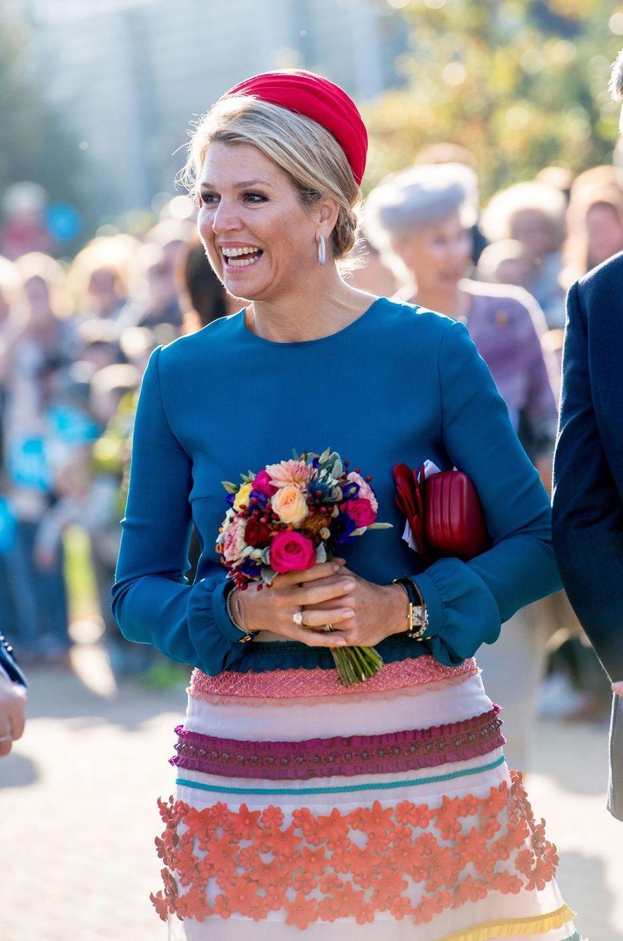 La reine Maxima des Pays-Bas en Zélande, le 16 octobre 2018