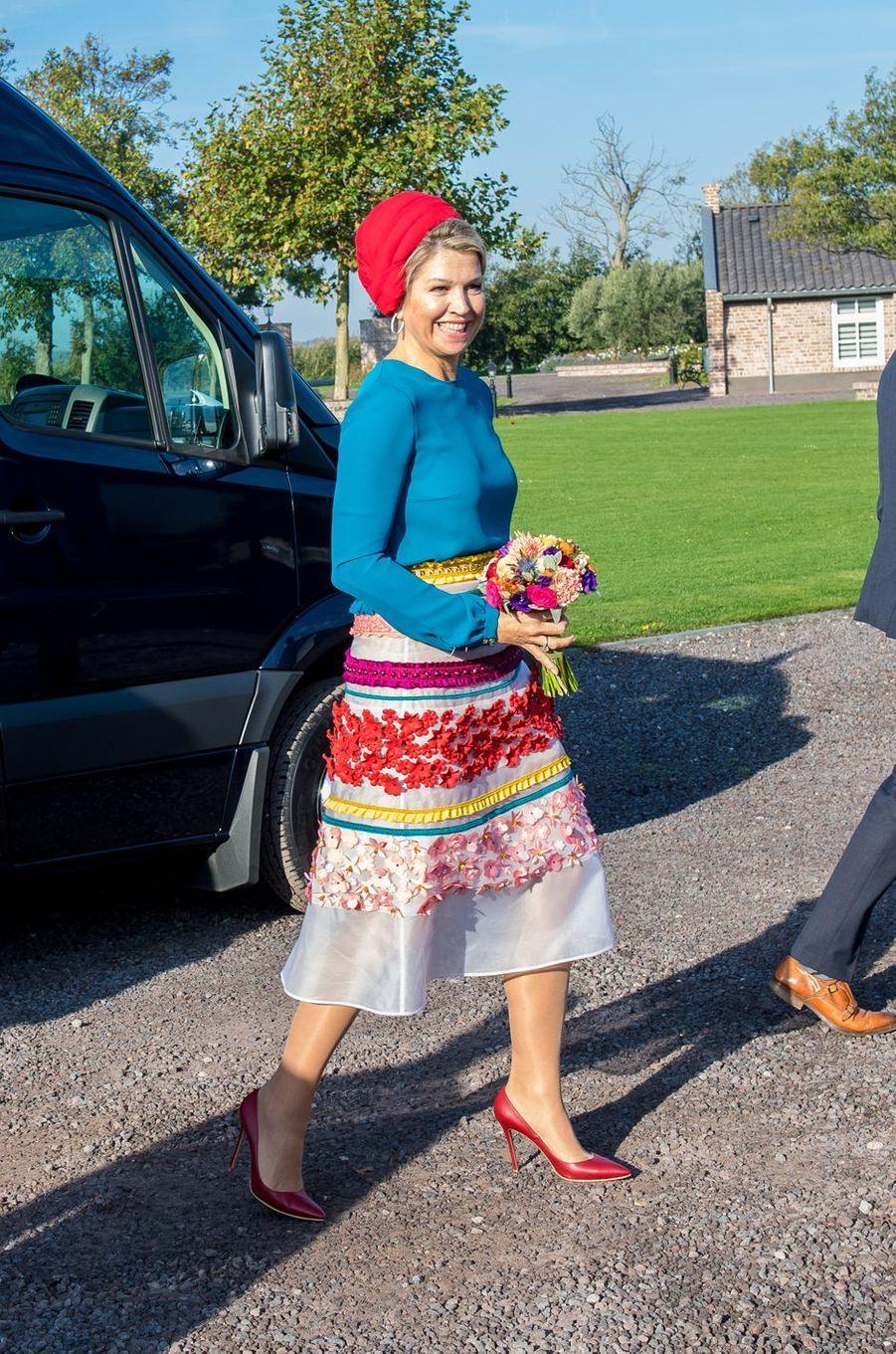 La reine Maxima des Pays-Bas dans une jupe Claes Iversen en Zélande, le 16 octobre 2018