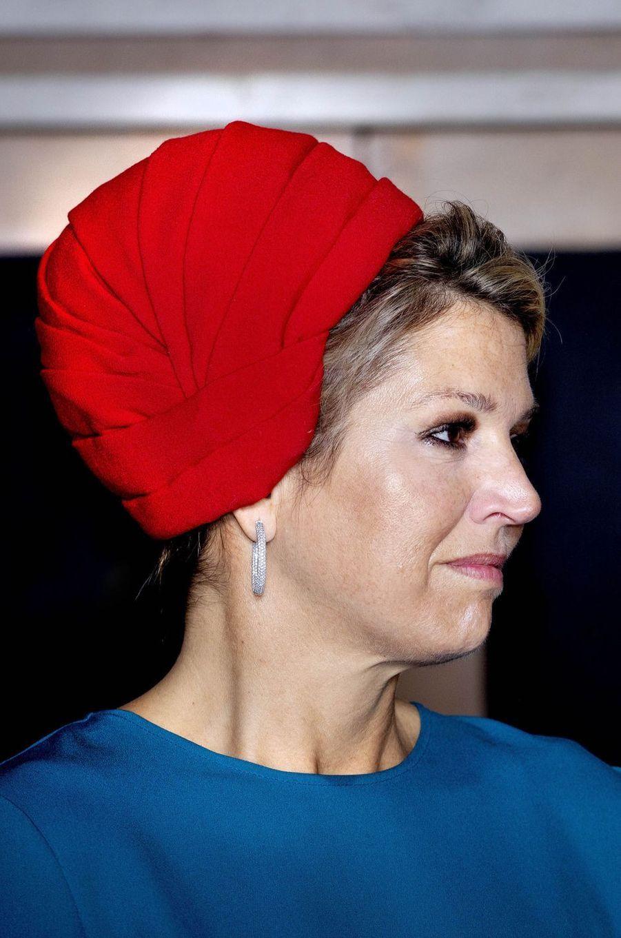 Le turban de la reine Maxima des Pays-Bas en Zélande, le 16 octobre 2018