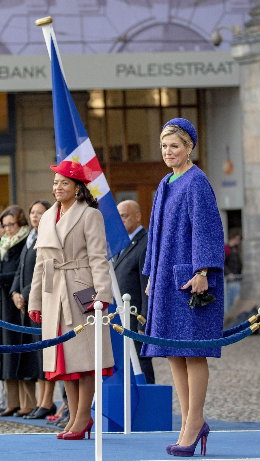 La reine Maxima des Pays-Bas et la Première dame du Cap Vert à Amsterdam, le 10 décembre 2018