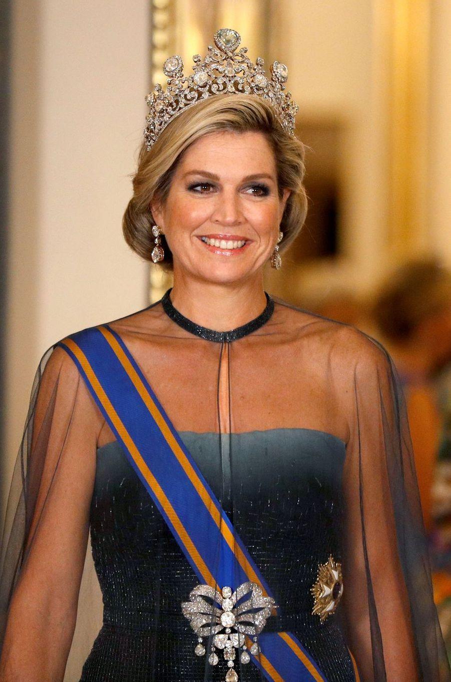 La reine Maxima des Pays-Bas à Londres le 23 octobre 2018