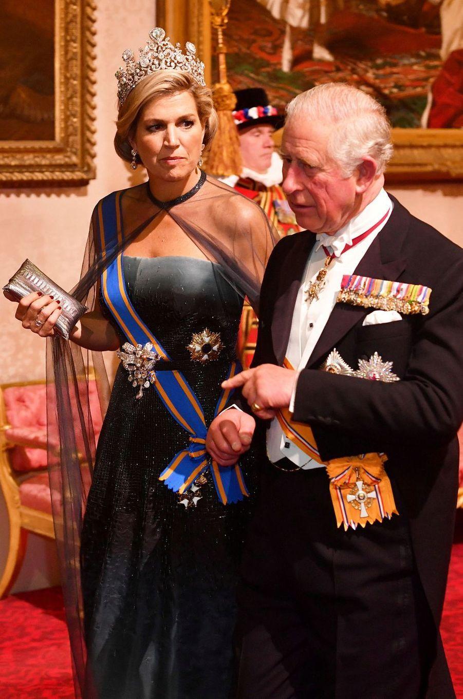 La reine Maxima des Pays-Bas et le prince Charles à Londres, le 23 octobre 2018