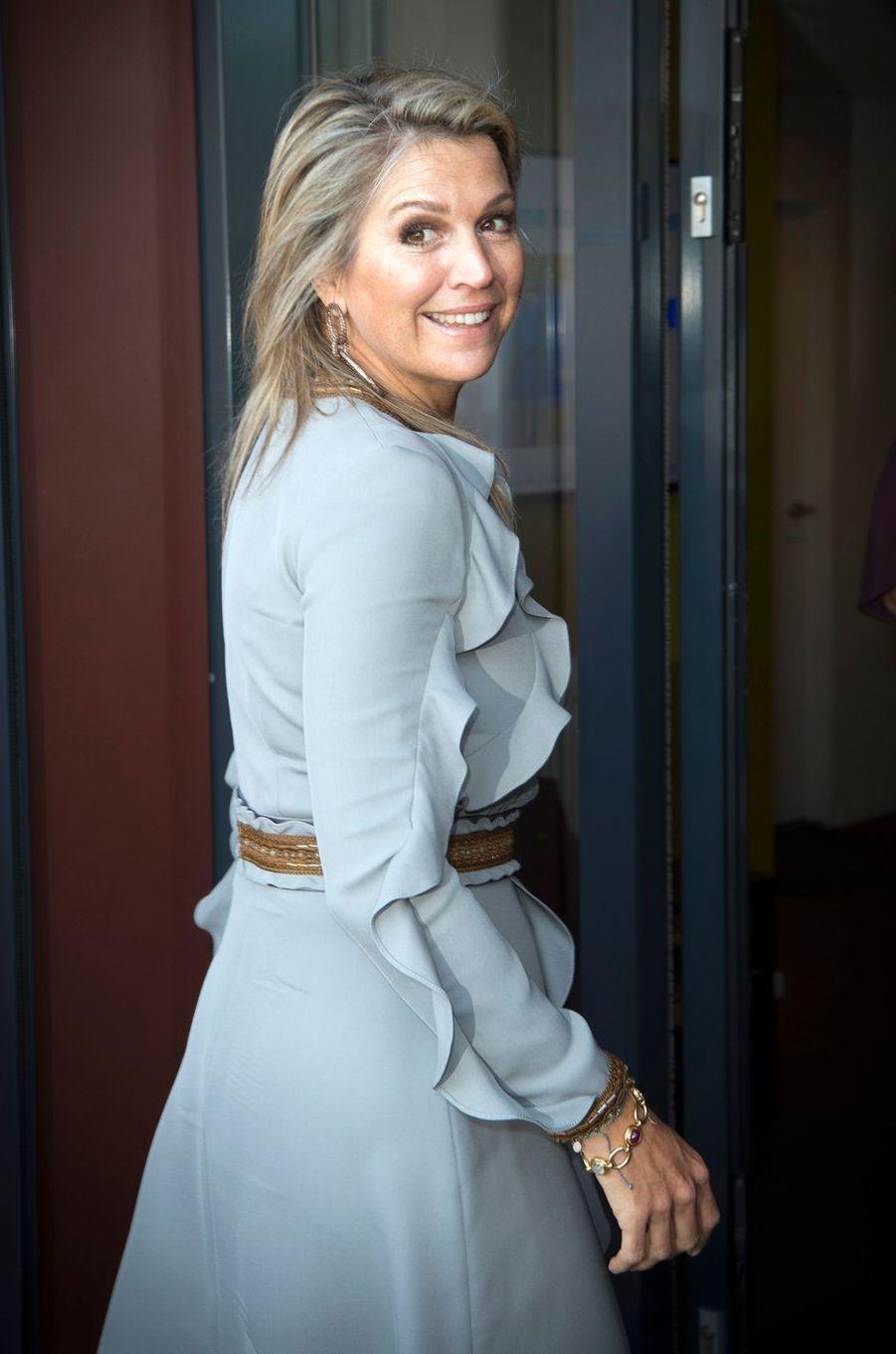La reine Maxima des Pays-Bas radieuse à Moerkapelle, le 3 octobre 2018