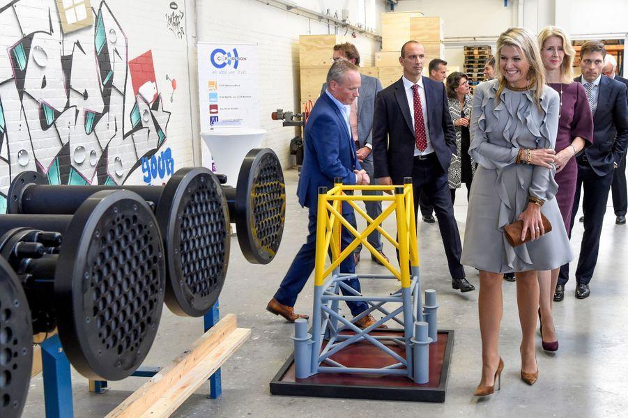 La reine Maxima des Pays-Bas dans une PME à Moerkapelle, le 3 octobre 2018