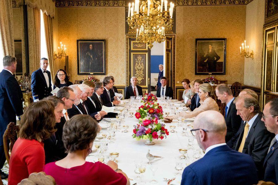 La reine Maxima et le roi Willem-Alexander des Pays-Bas à La Haye avec le couple présidentiel allemand, le 15 mai 2018