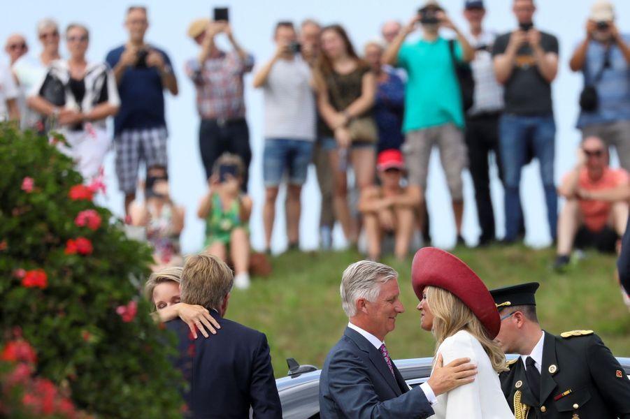 La reine Maxima et le roi Willem-Alexander accueillent la reine Mathilde et le roi des Belges Philippe à Terneuzen, le 31 août 2019