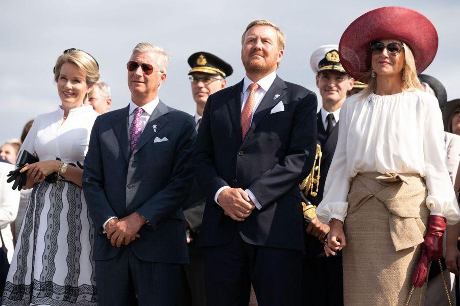 Les reines Mathilde de Belgique et Maxima des Pays-Bas avec le roi Willem-Alexander des Pays-Bas et le roi des Belges Philippe à Terneuzen, le 31 août 2019