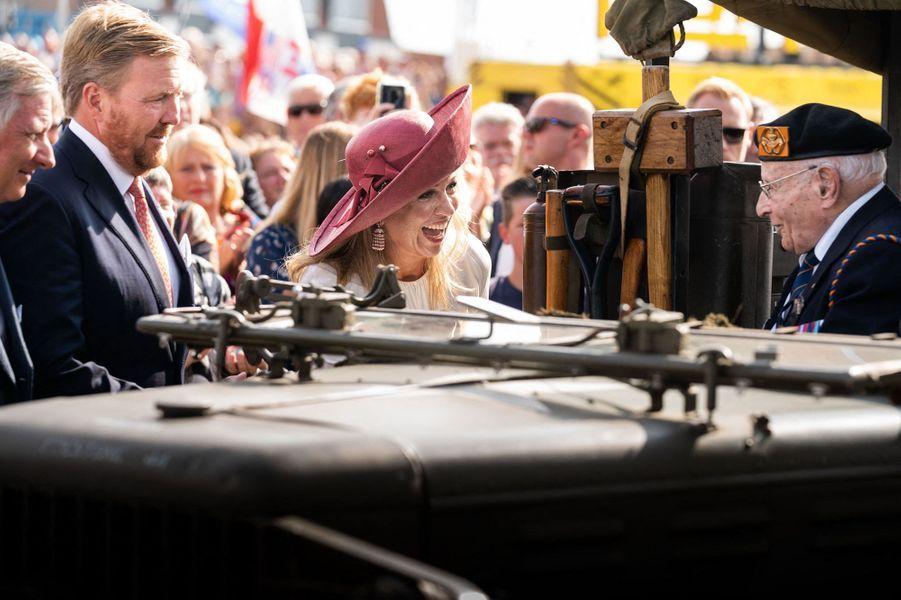 La reine Maxima et le roi Willem-Alexander des Pays-Bas avec le roi des Belges Philippe à Terneuzen, le 31 août 2019