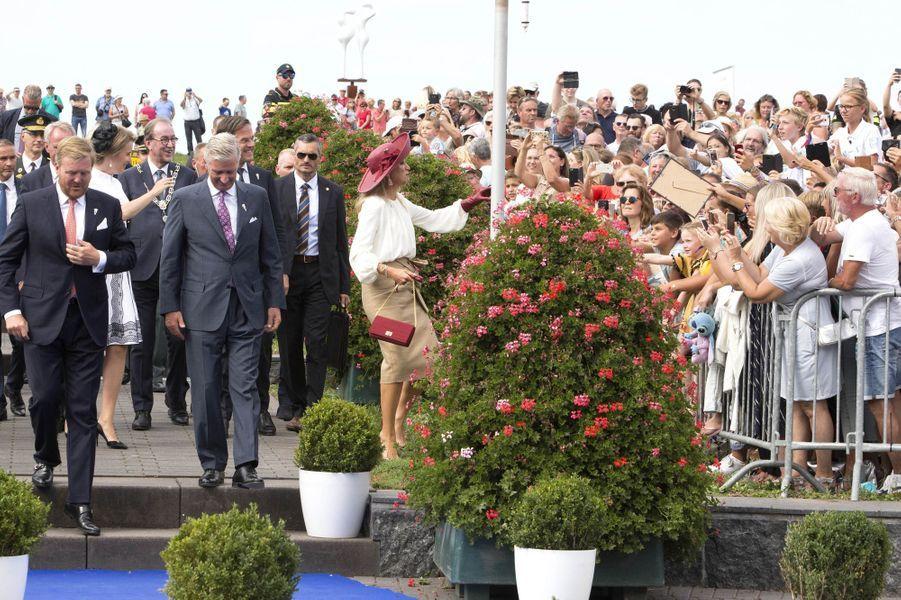 La reine Maxima et le roi Willem-Alexander des Pays-Bas avec la reine Mathilde et le roi des Belges Philippe à Terneuzen, le 31 août 2019