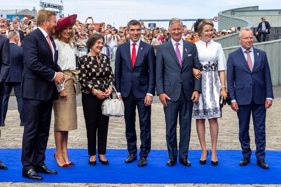 Les couples royaux des Pays-Bas et de Belgique à Terneuzen, le 31 août 2019