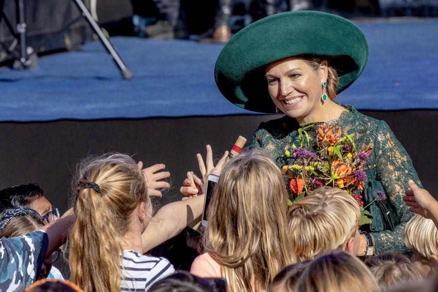 La reine Maxima des Pays-Bas dans le quartier de Leidsche Rijn à Utrecht, le 5 octobre 2018