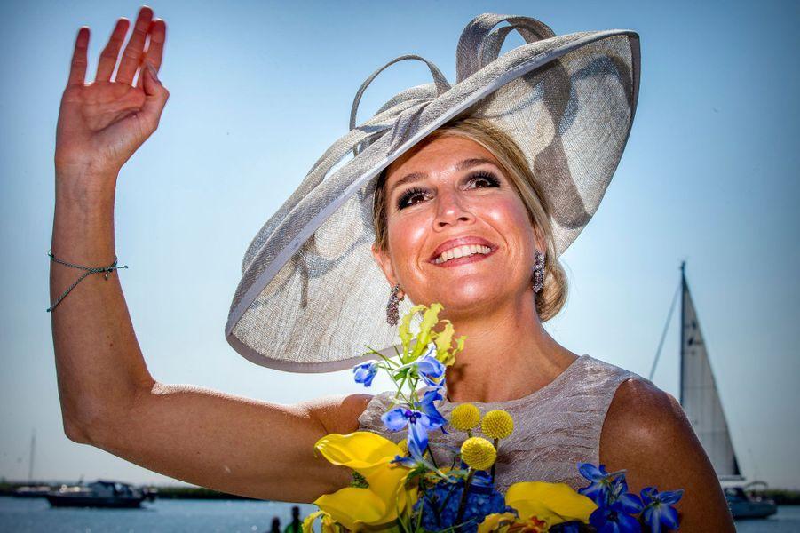 La reine Maxima des Pays-Bas rayonnante à Hoorn, le 28 juin 2018