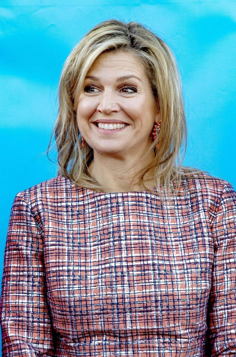 La reine Maxima des Pays-Bas tout sourire à Vlissingen, le 20 février 2019