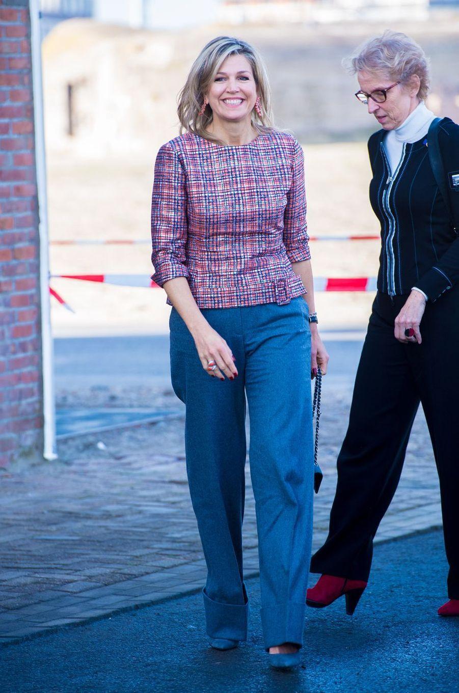 La reine Maxima des Pays-Bas à Vlissingen (Flessingue) en Zélande, le 20 février 2019