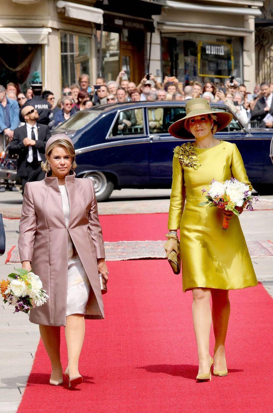 La grande-duchesse Maria Teresa de Luxembourg et la reine Maxima des Pays-Bas à Luxembourg, le 23 mai 2018