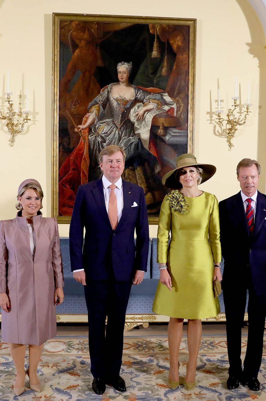 Le couple royal des Pays-Bas et le couple grand-ducal du Luxembourg à Luxembourg, le 23 mai 2018