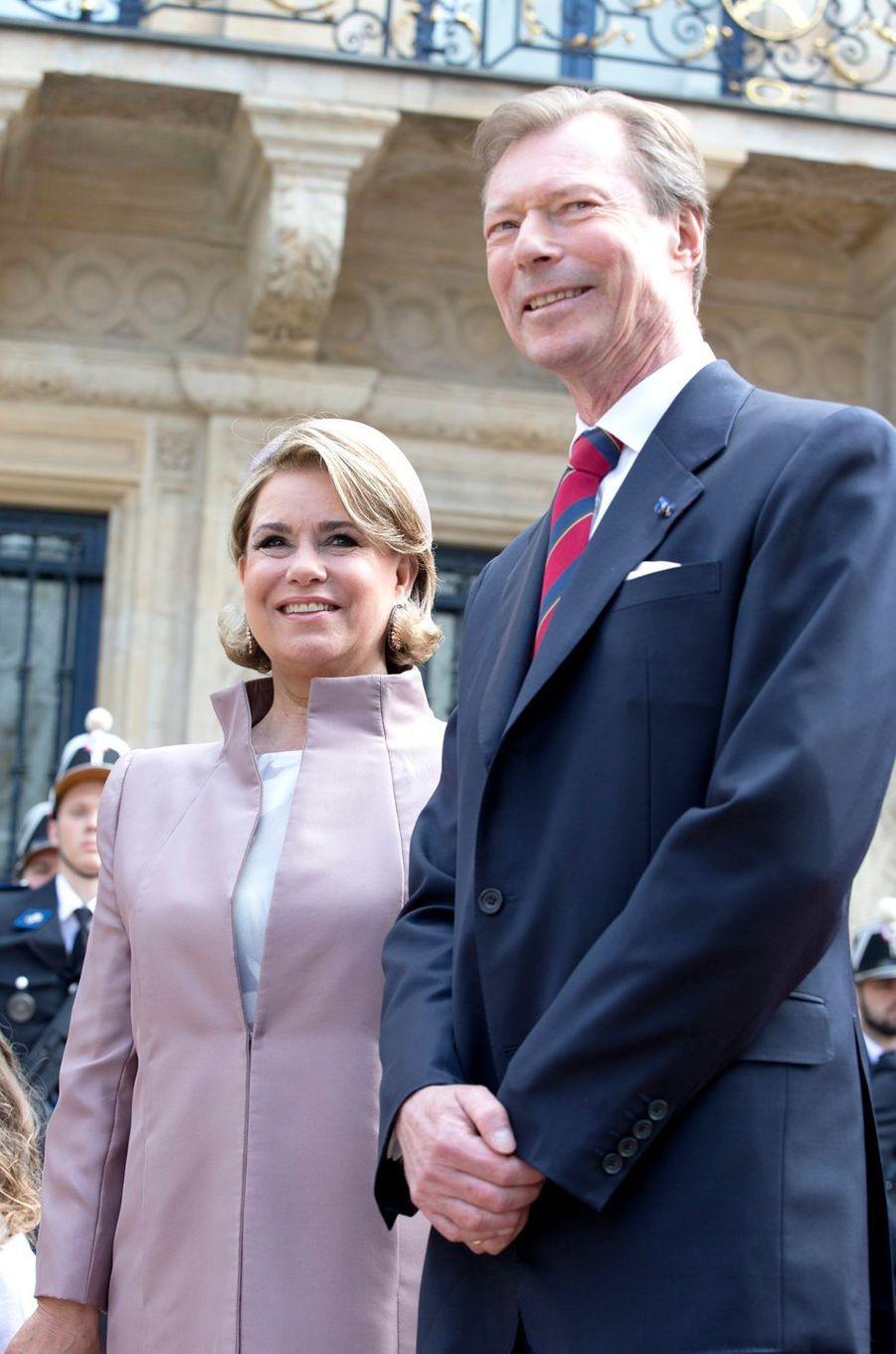 La grande-duchesse Maria Teresa et le grand-duc Henri de Luxembourg à Luxembourg, le 23 mai 2018