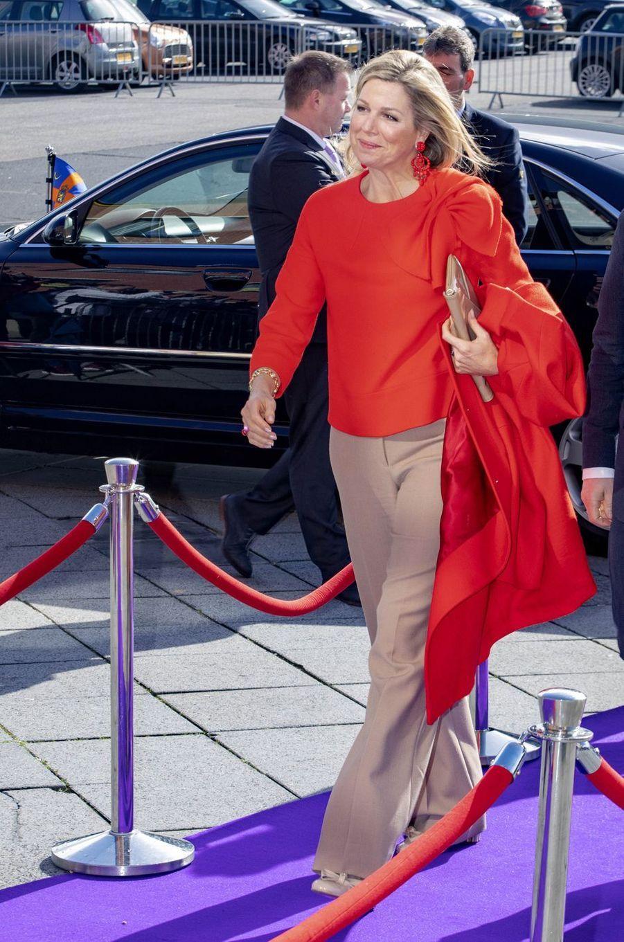 La reine Maxima des Pays-Bas à son arrivée à Bréda, le 25 mars 2019