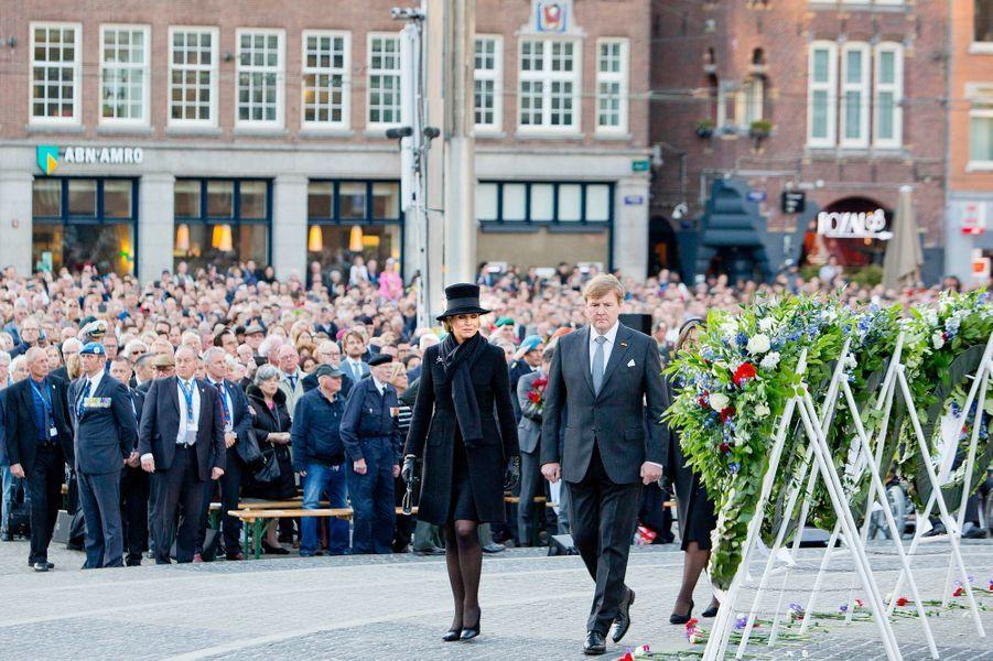 La reine Maxima et le roi Willem-Alexander des Pays-Bas à Amsterdam, le 4 mai 2018
