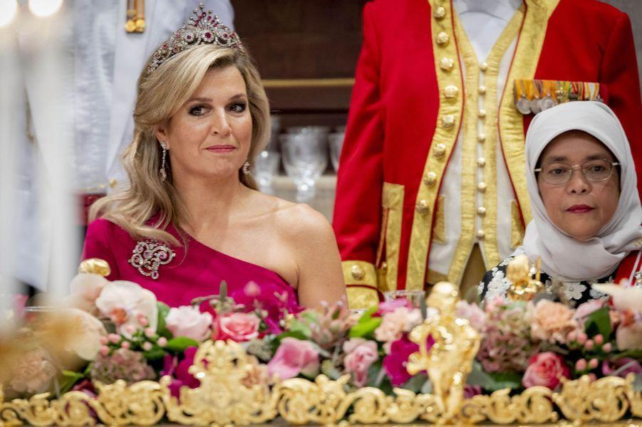 La reine Maxima des Pays-Bas et la présidente de Singapour à Amsterdam, le 21 novembre 2018