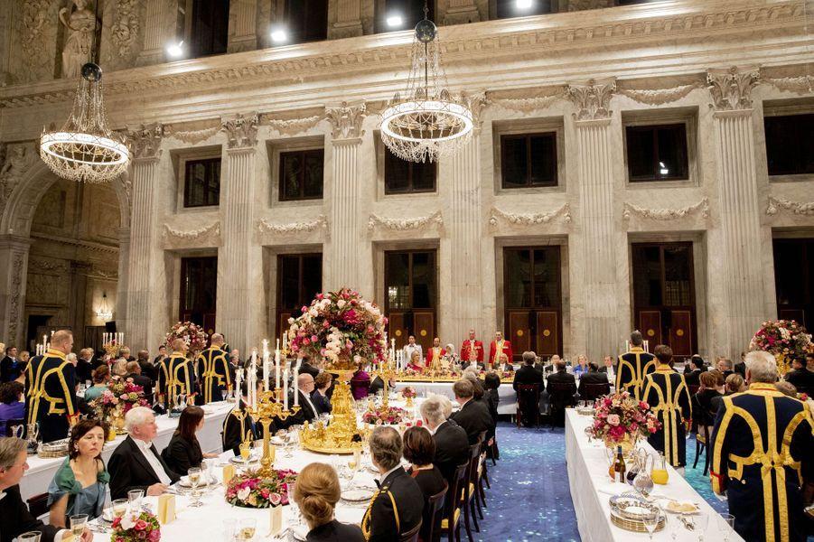 Le banquet d'Etat donné par le roi et la reine des Pays-Bas pour le couple présidentiel singapourien, le 21 novembre 2018 à Amsterdam