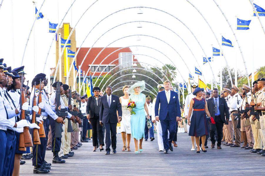 La reine Maxima et le roi Willem-Alexander des Pays-Bas à Willemstad sur l'île de Curaçao, le 2 juillet 2018