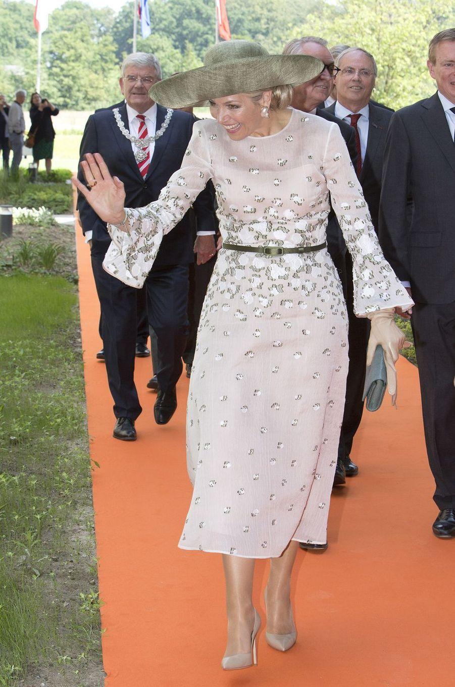 La reine Maxima des Pays-Bas, dans une robe Natan, à Utrecht, le 5 juin 2018