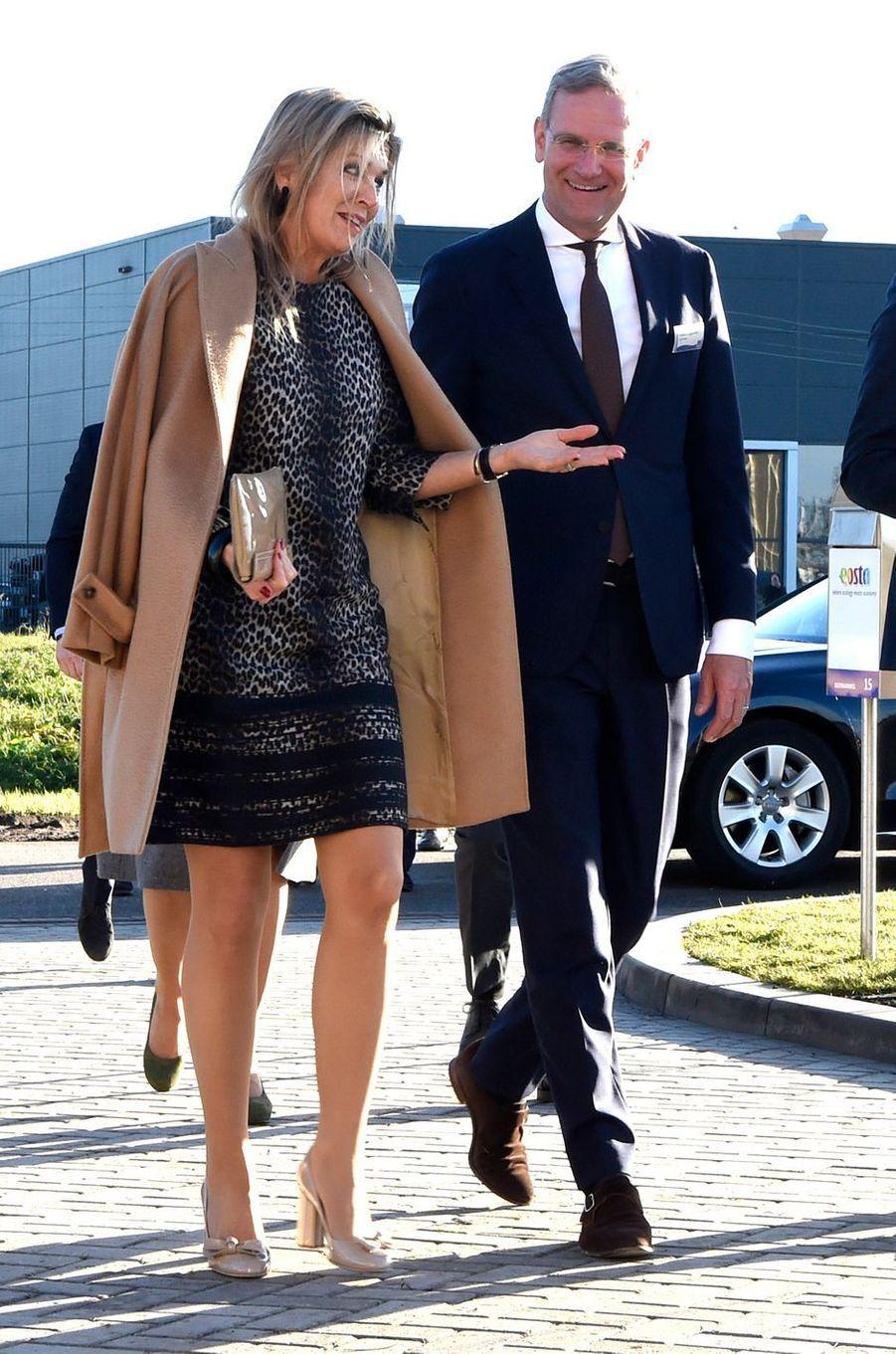 La reine Maxima des Pays-Bas arrive à Waddinxveen, le 4 décembre 2018