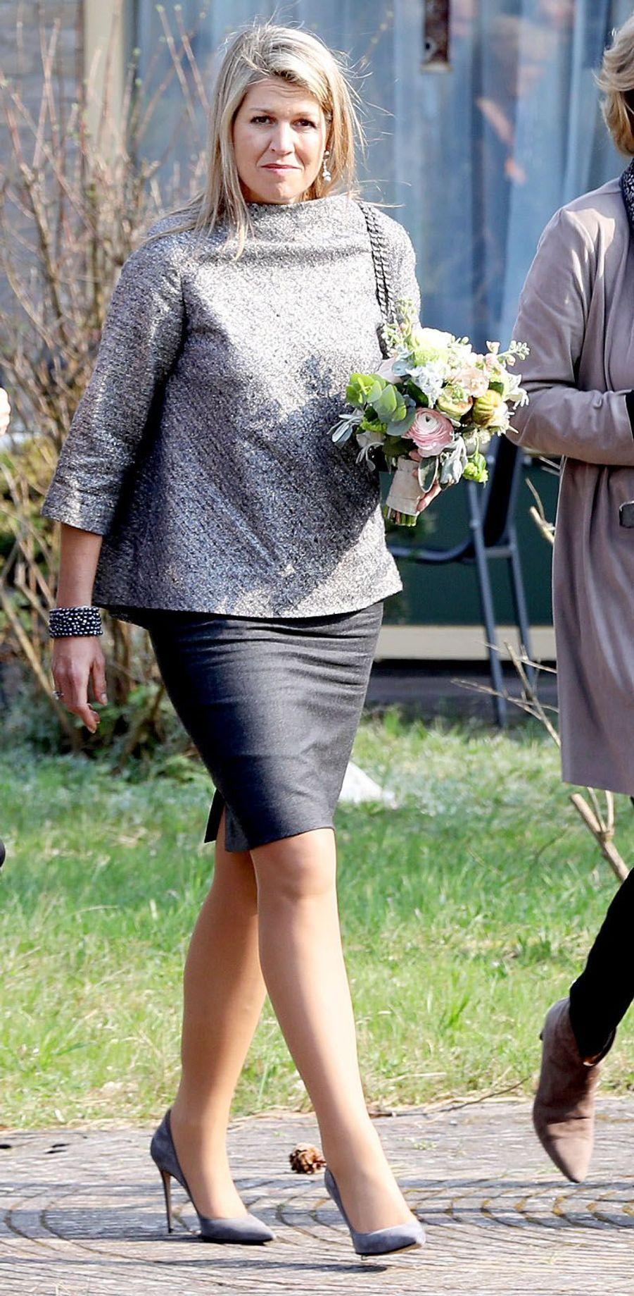 La reine Maxima des Pays-Bas dans un top Natan à Zandvoort, le 11 avril 2018