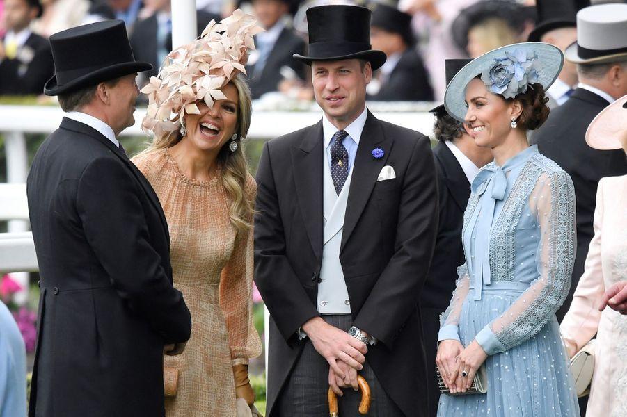 La reine Maxima et le roi Willem-Alexander des Pays-Bas avec le prince William et Kate Middleton au Royal Ascot, le 18 juin 2019