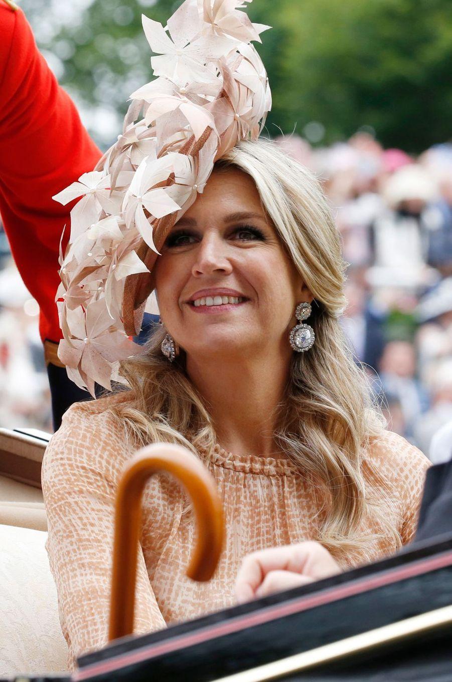 La reine Maxima des Pays-Bas au Royal Ascot, le 18 juin 2019