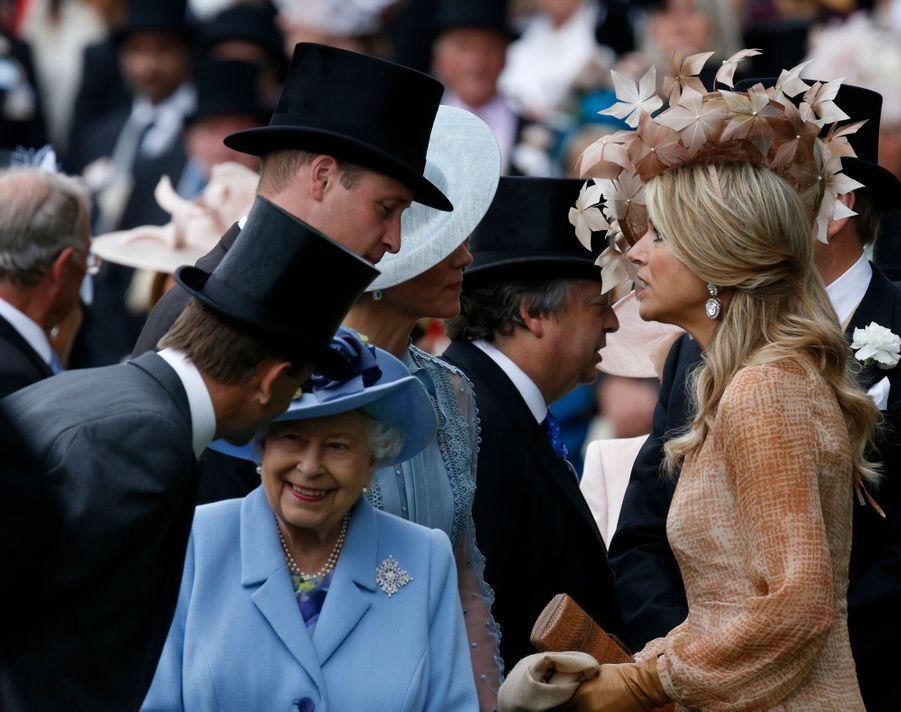 La reine Maxima des Pays-Bas avec la reine Elizabeth II, le prince William et Kate Middleton au Royal Ascot, le 18 juin 2019