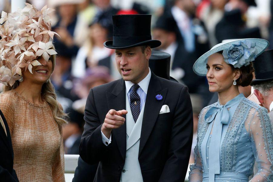 La reine Maxima des Pays-Bas avec le prince William et Kate Middleton au Royal Ascot, le 18 juin 2019