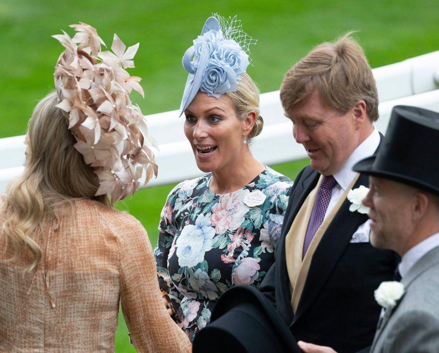 La reine Maxima et le roi Willem-Alexander des Pays-Bas avec Zara Phillips et son mari Mike Tindall au Royal Ascot, le 18 juin 2019