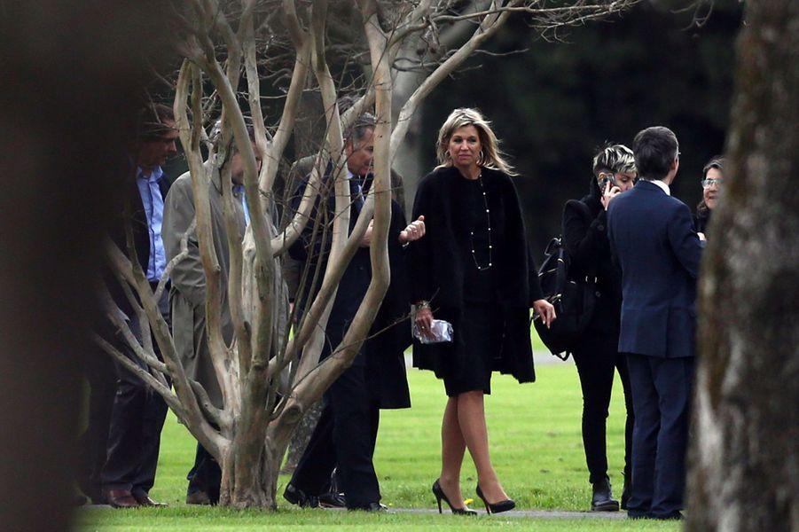 La reine Maxima des Pays-Bas aux funérailles de son père Jorge Zorreguieta à Buenos Aires, le 10 août 2017