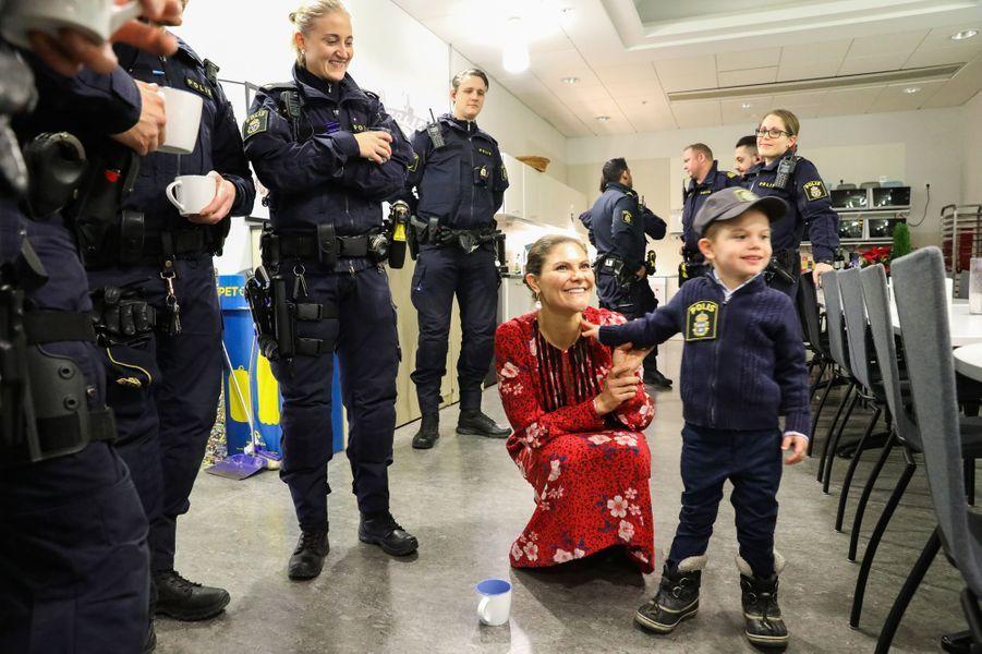 La princesse Victoria et le prince Oscar de Suède, à Stockholm le 24 décembre 2019