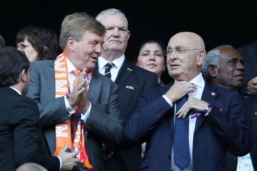 Le roi Willem-Alexander des Pays-Bas avec Michael van Praag à Lyon, le 7 juillet 2019