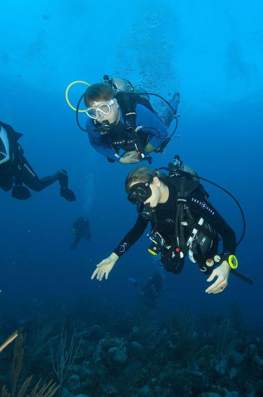 La reine Maxima et le roi Willem-Alexander des Pays-Bas en plongée à Saba, le 1er décembre 2017