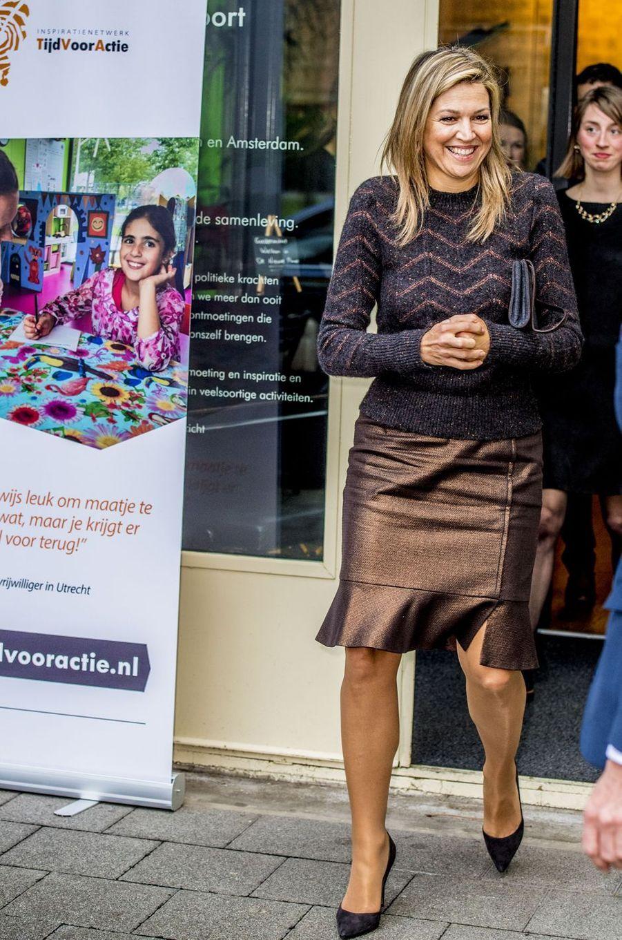 La reine Maxima des Pays-Bas à Rotterdam, le 11 janvier 2018