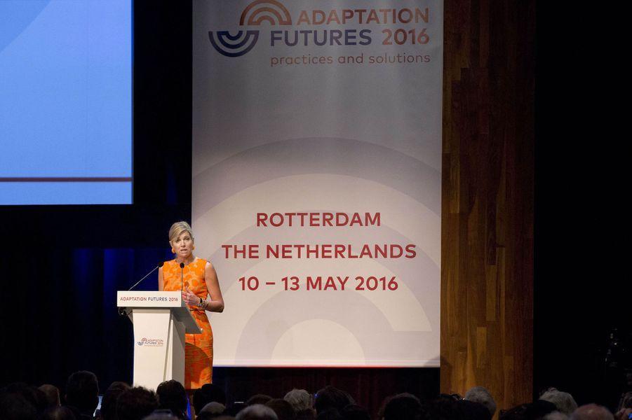 La reine Maxima des Pays-Bas à Rotterdam, le 11 mai 2016