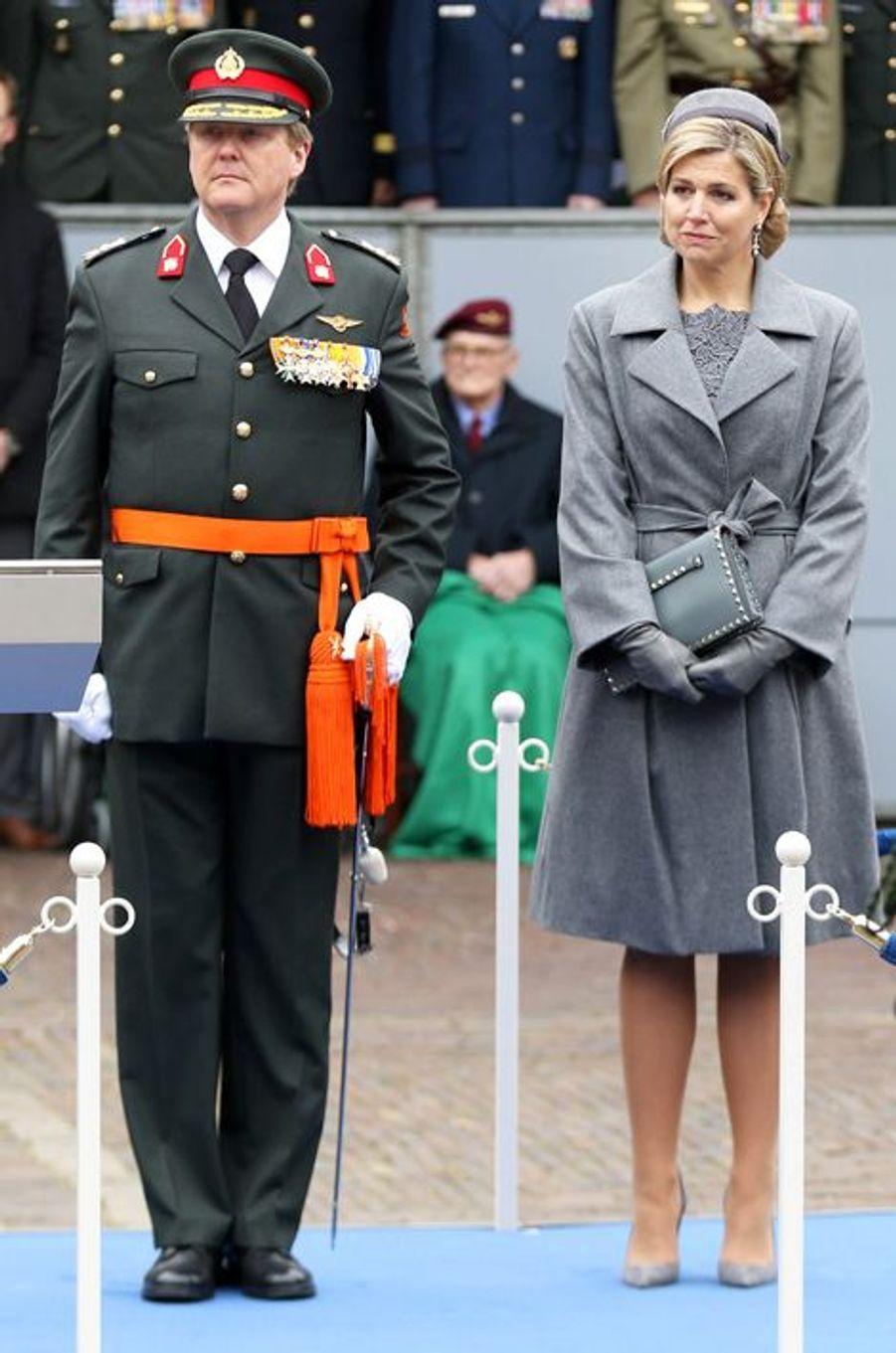 La reine Maxima des Pays-Bas avec le roi Willem-Alexander à La Haye, le 15 mars 2016