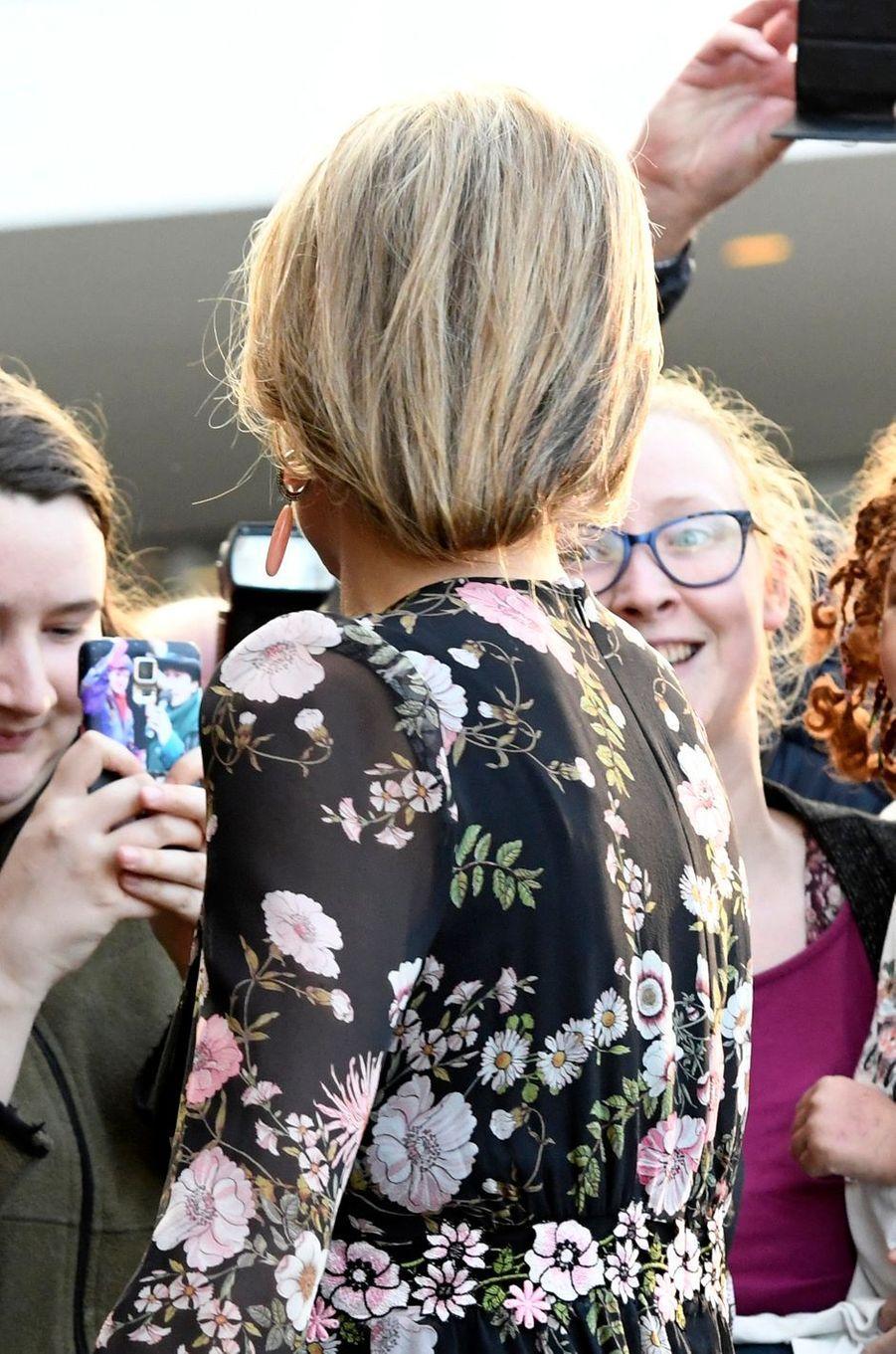 La coiffure de la reine Maxima des Pays-Bas à Tilburg, le 3 avril 2017