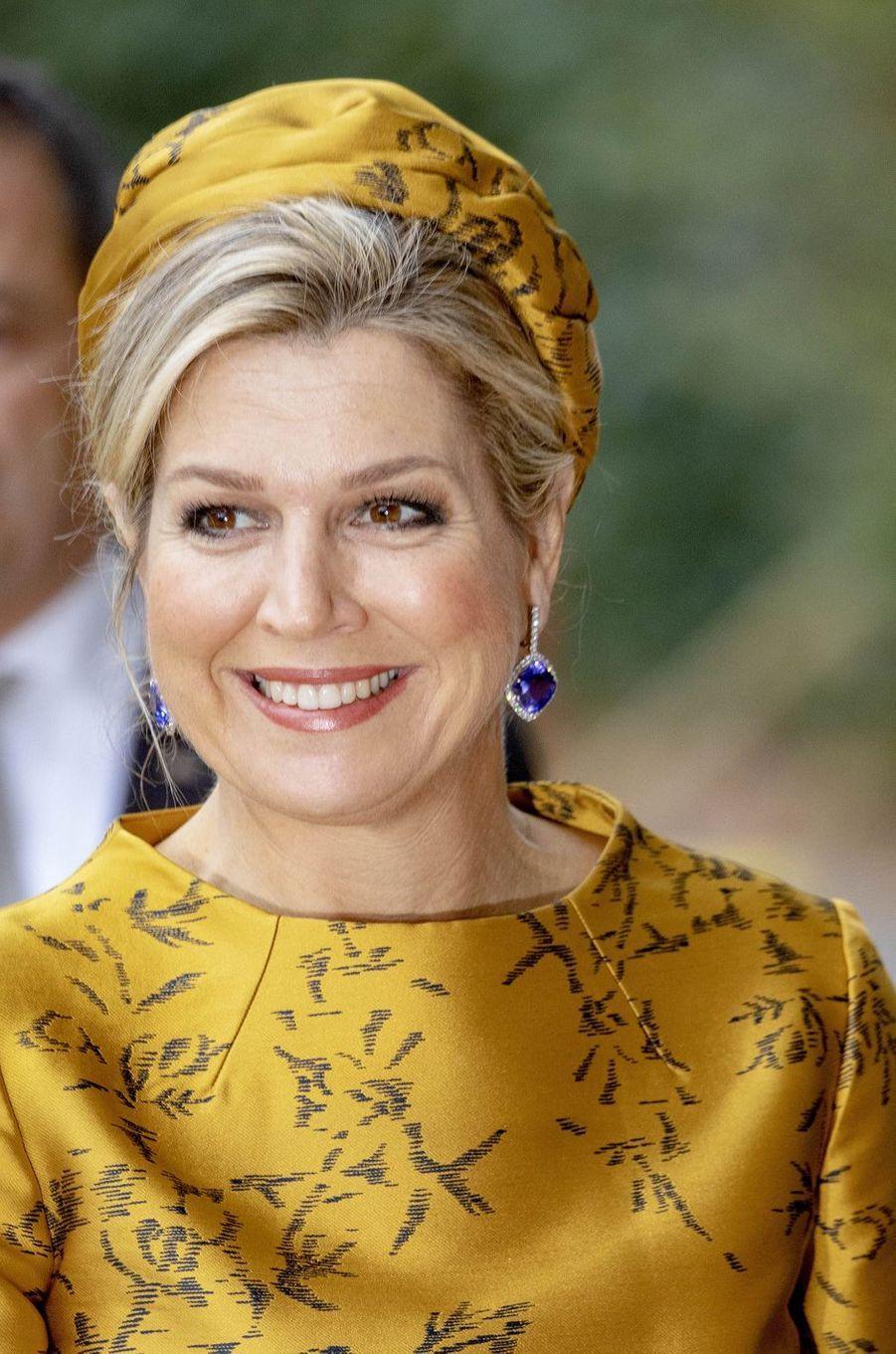 Les boucles d'oreille de la reine Maxima des Pays-Bas à Amsterdam, le 6 décembre 2018