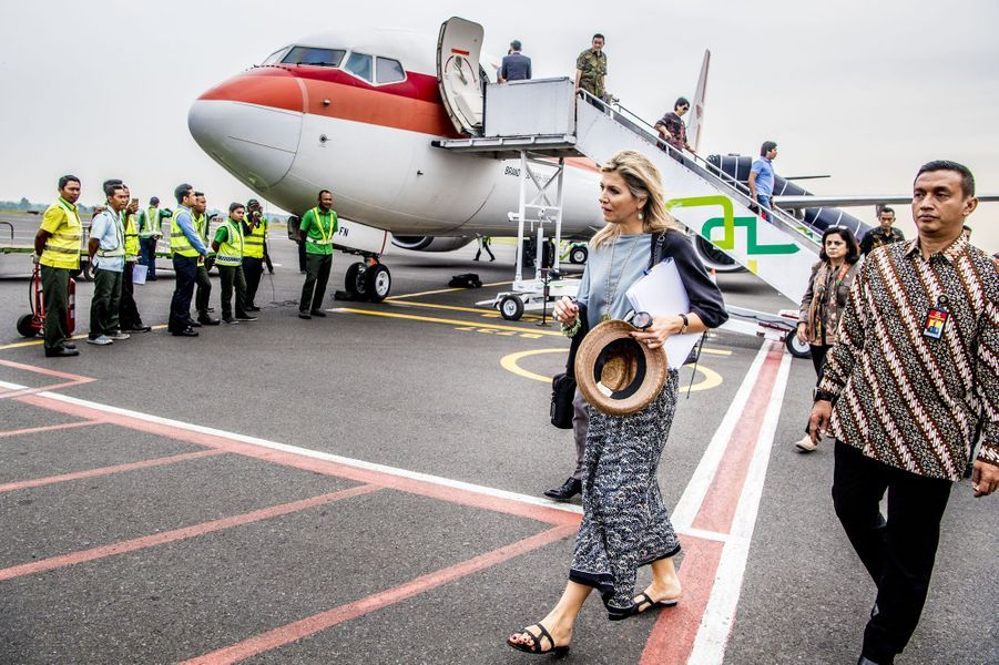 La reine Maxima des Pays-Bas arrive dans la province de Lampung sur l'île de Sumatra en Indonésie, le 12 février 2018