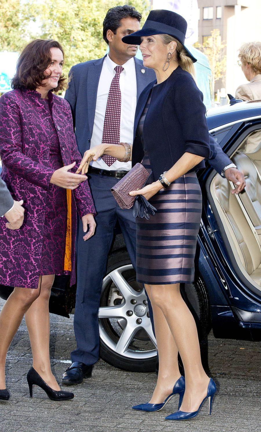 La reine Maxima des Pays-Bas dans une robe Natan à Amersfoort, le 6 octobre 2017